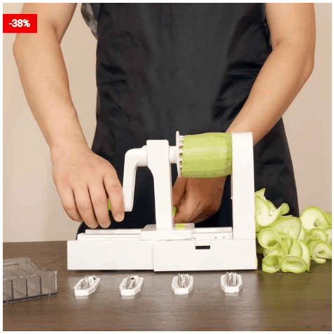 Easy And Convenient Spiral Vegetable Slicer 5 In 1 Cutter