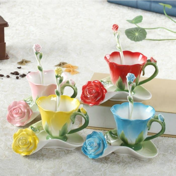 Teacup And Saucer: In Unique Creative Flower Shape